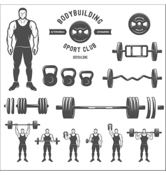 Equipment for bodybuilding and exercise vector image vector image
