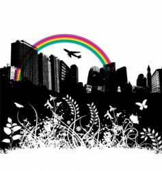 floral city rainbow plane vector image