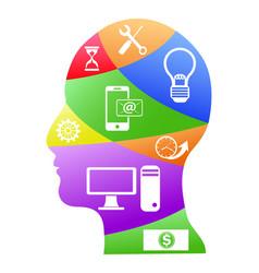 human head infographic design vector image vector image