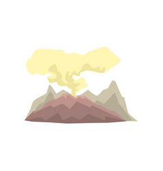 Volcanic mountain with dust cloud vector