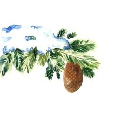 Watercolor snow christmas branch vector image vector image