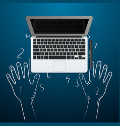 computer with hands out of the chalk vector image vector image