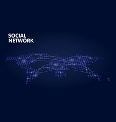 dotted world map network technology concept vector image