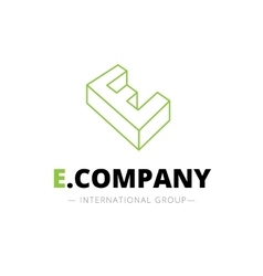 isometric line style E letter logo Company vector image vector image