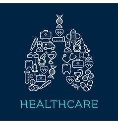 Lungs symbol created of medical healthcare icons vector image vector image