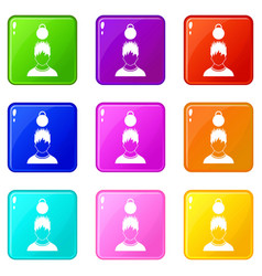 Man with the weight over head icons 9 set vector