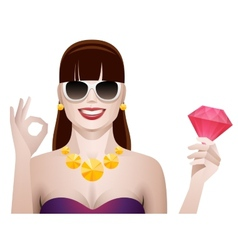 Pretty woman with diamond isolated vector