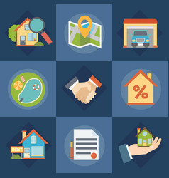 real estate and realtors icons set vector image