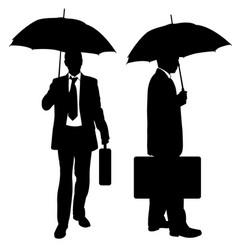 set of businessmen with umbrellas vector image vector image
