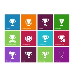 Trophy cup icons on color background vector image
