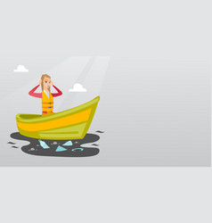 woman floating in a boat in polluted water vector image vector image