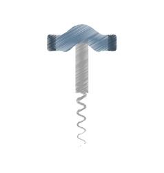 drawing corkscrew wooden handle utensils vector image