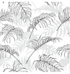 hand drawn palm leaves pattern vector image