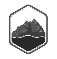monochrome silhouette of diamond shape emblem with vector image