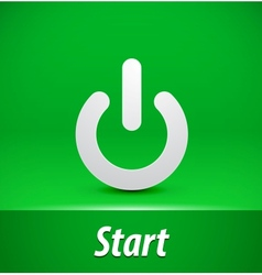 Paper start button on green background vector image vector image