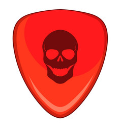 red guitar pick with a skul icon cartoon style vector image