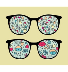 Retro sunglasses with people reflection vector image vector image