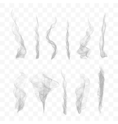 Set of 10 smoke on transparent background vector image vector image