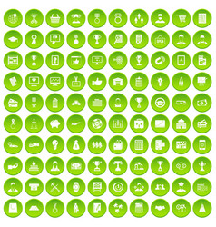 100 business career icons set green circle vector