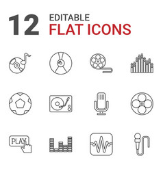 12 record icons vector image