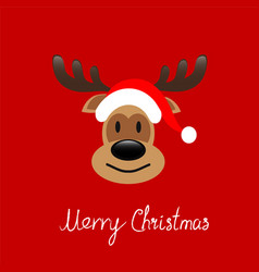 abstract christmas card reindeer face on red vector image