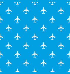 Airplane pattern seamless blue vector