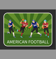 american football team running sportsmen vector image