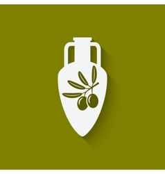 Amphora with olive oil vector