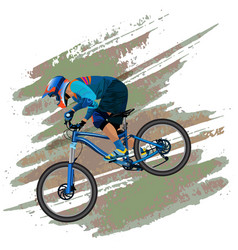an image of a cyclist descending on a mountain vector image
