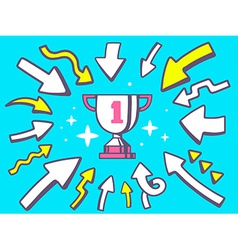Arrows point to icon of sport goblet on vector