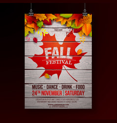 Autumn party flyer with falling vector