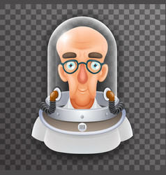 Bald scientist avatar retro realistic helmet 3d vector