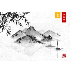 Bamboo fishing boat and island with mountains vector