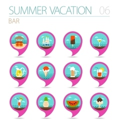 Bar beach pin map icon set Summer Vacation vector image