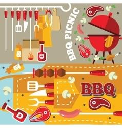 Bbq Flat Banner Set vector image
