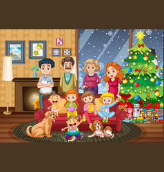 Big family gathering on christmas day vector