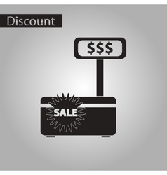 Black and white style icon cash machine sale vector
