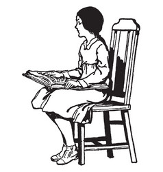 Blind girl reading braille sitting vintage vector