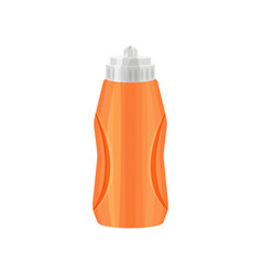 bright orange sport bottle with gray lid plastic vector image