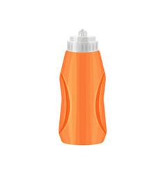 Bright orange sport bottle with gray lid plastic vector