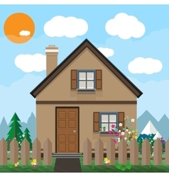 Brown wooden house and garden with flowers vector