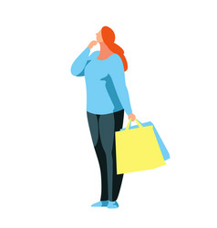 buyer stands in a reverie with bags in hands vector image