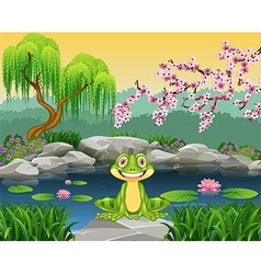Cartoon funny frog sitting on the rock vector image