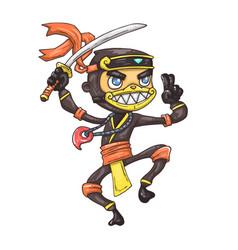 cartoon ninja with sword vector image