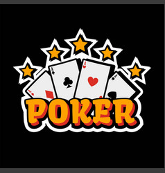Casino poker logo template gambling cards and vector