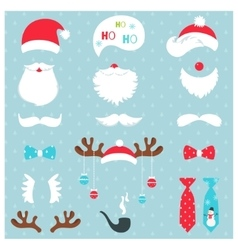 Christmas Santa Claus and Reindeer Photo Booth vector image