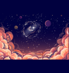 color hand-drawn image clouds and a starry sky vector image