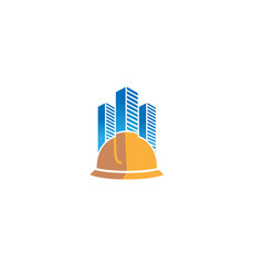 creative yellow hardhat helmet skyscrapers vector image