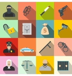 Crime flat icons vector
