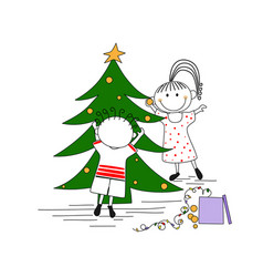 cute couple decorating a christmas tree vector image